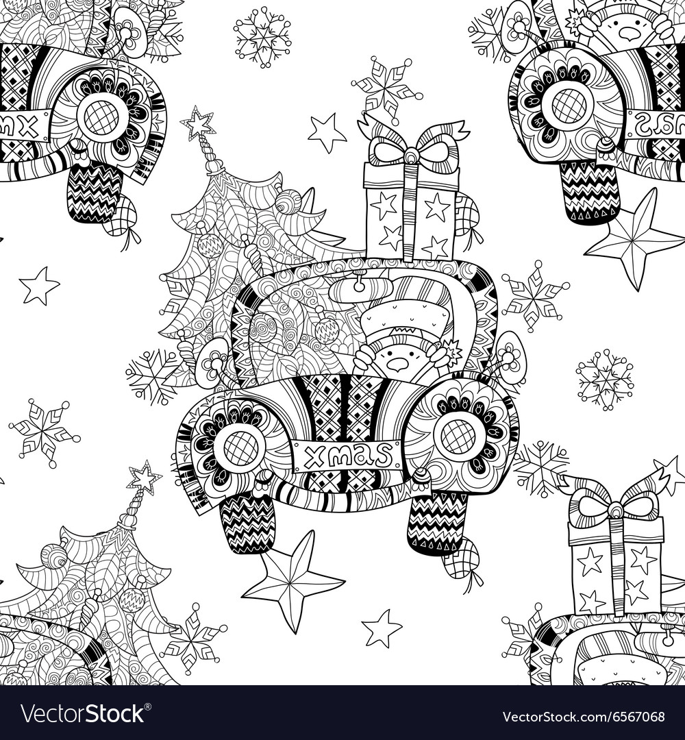 Christmas car gift doodle zentangle Royalty Free Vector