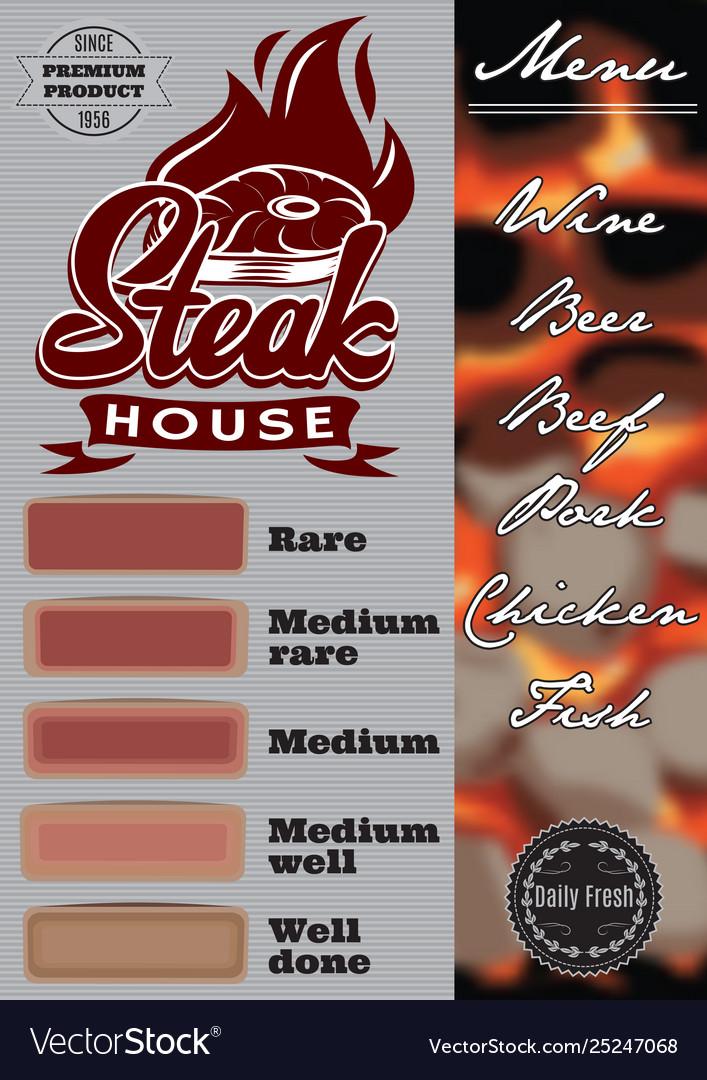 Color menu template for steak house