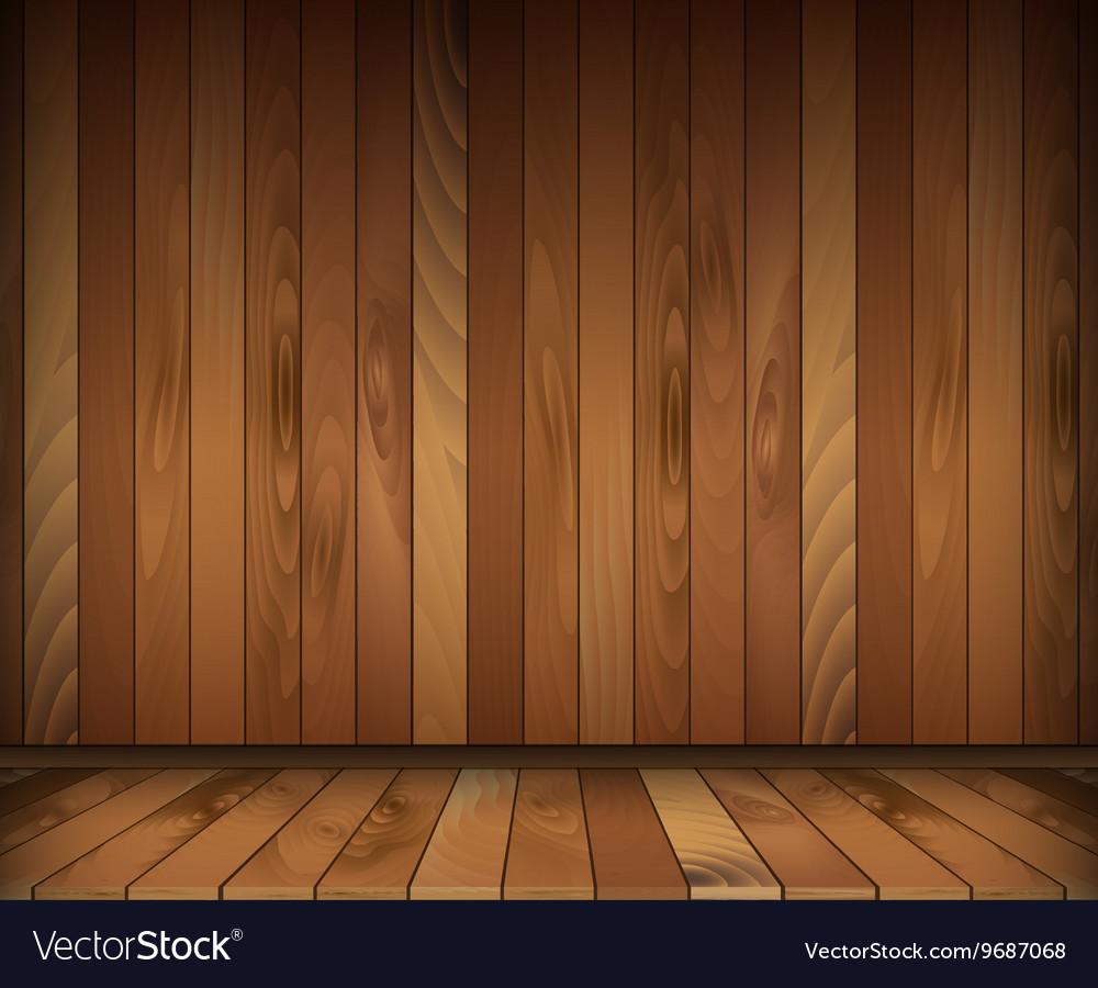 Dark wooden interior room floor and wall Vector Image