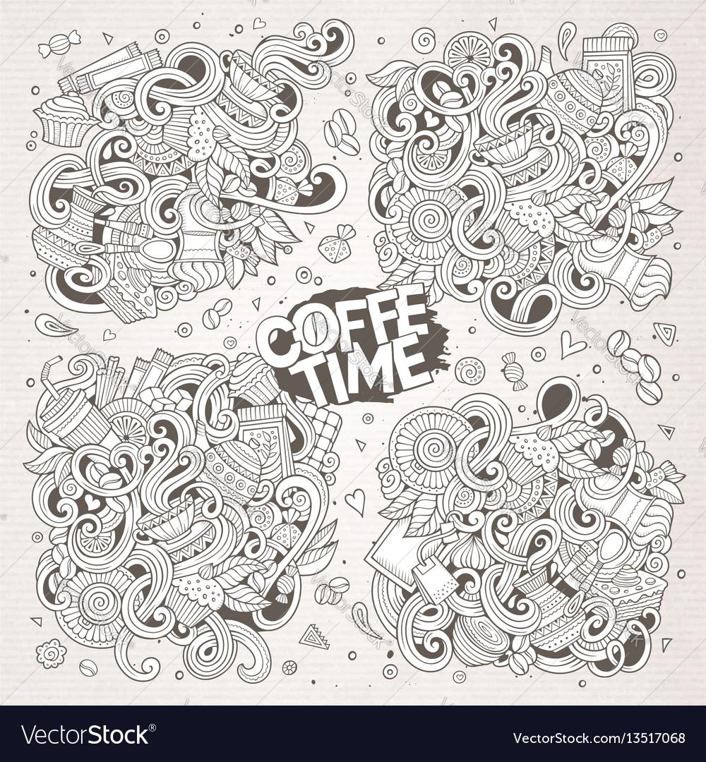 Doodle cartoon set tea and coffee designs