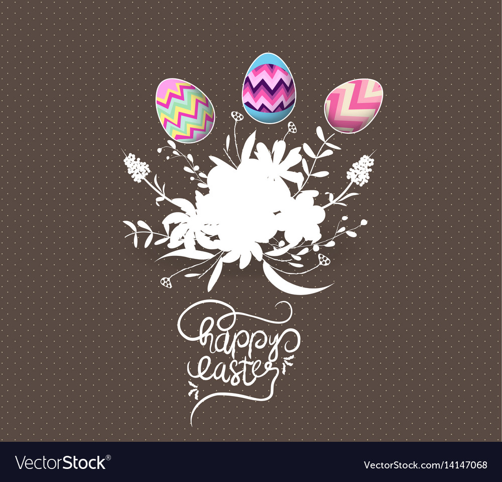 Easter egg invited with flowers greeting card