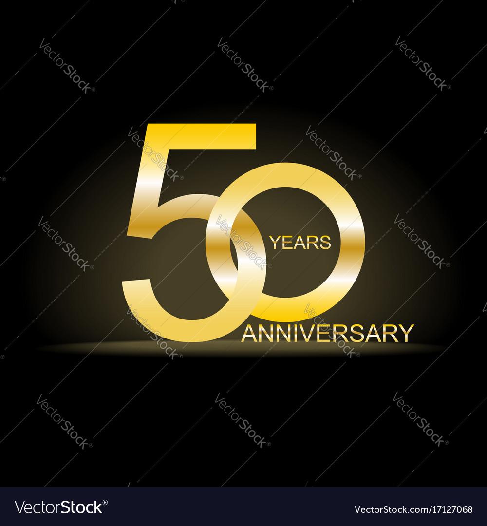 Fifty years anniversary celebration gold logotype
