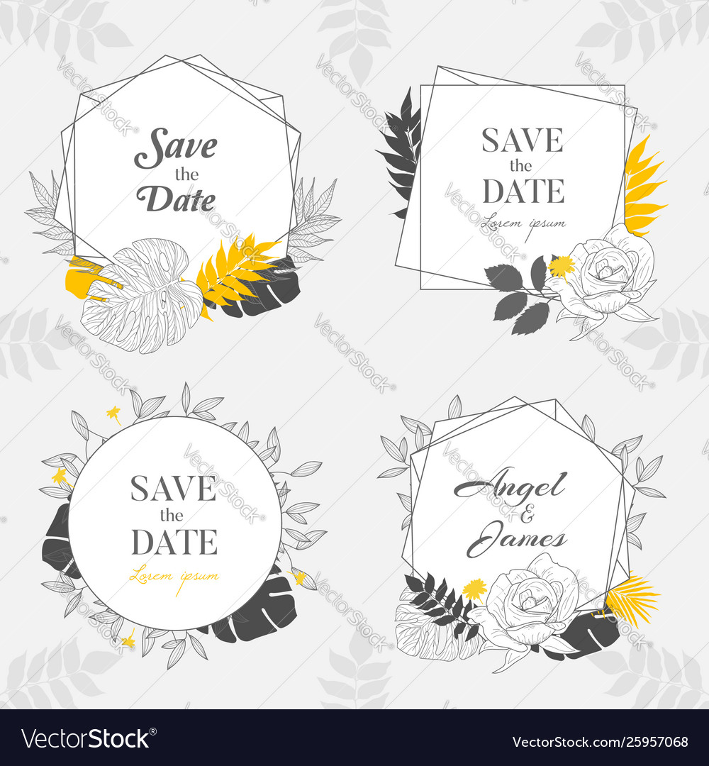 Hand drawn yellow floral frame background