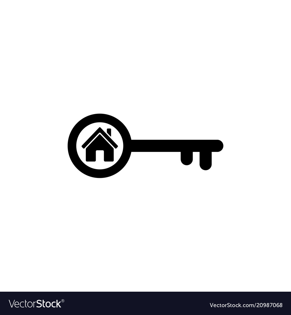Home key icon in flat style simple estate symbol
