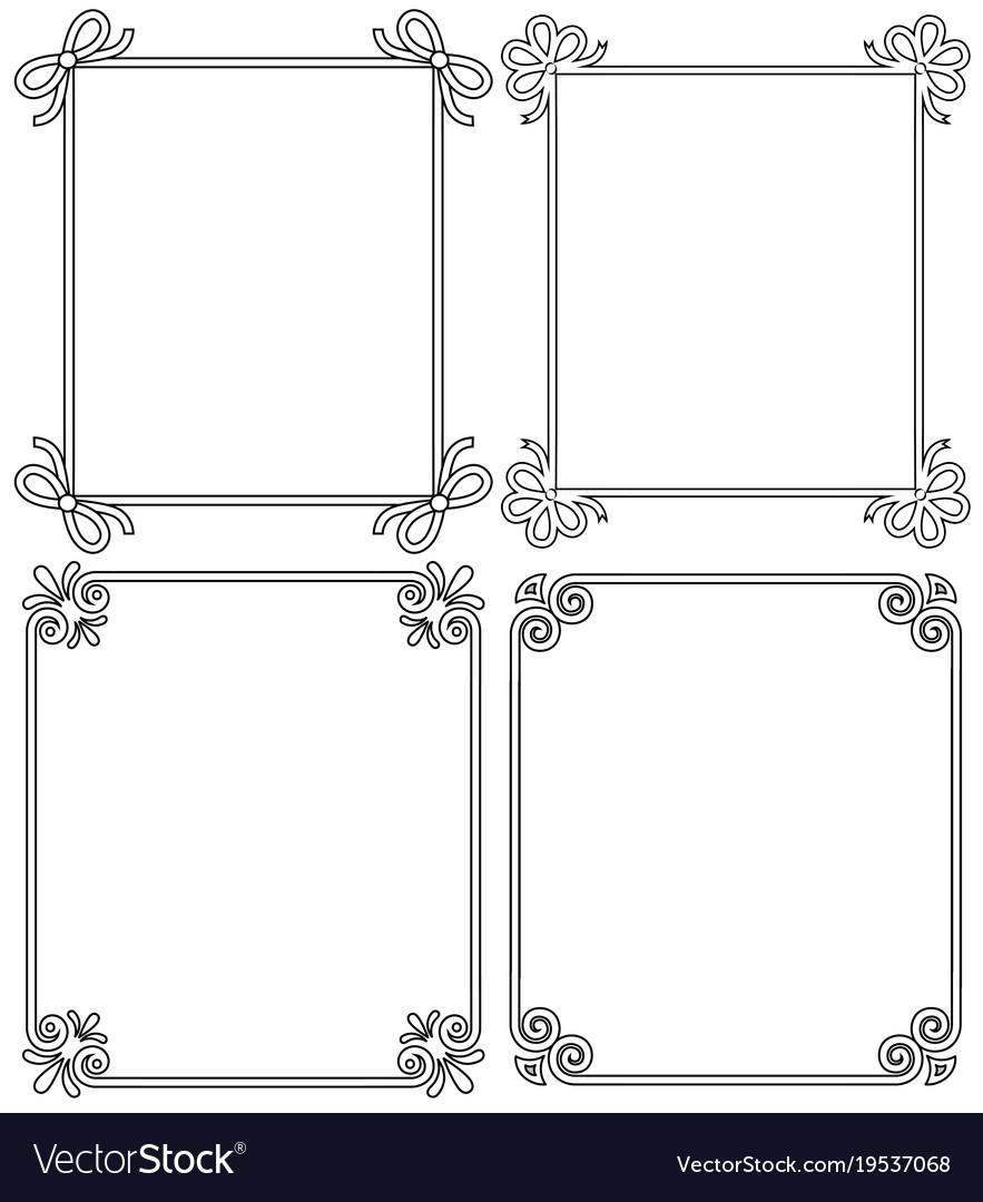 Ornamental frames with vintage decor bows elements