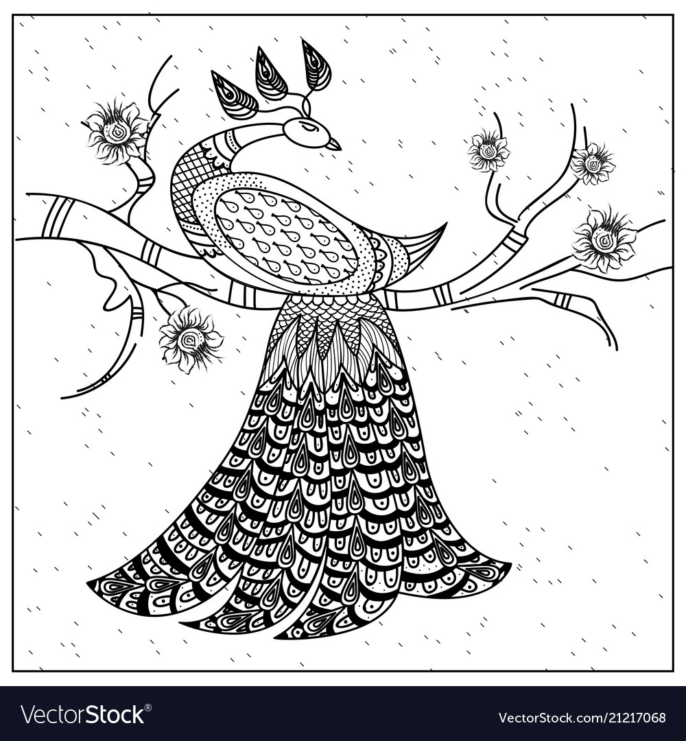 Pattern peacock on a branch black and white