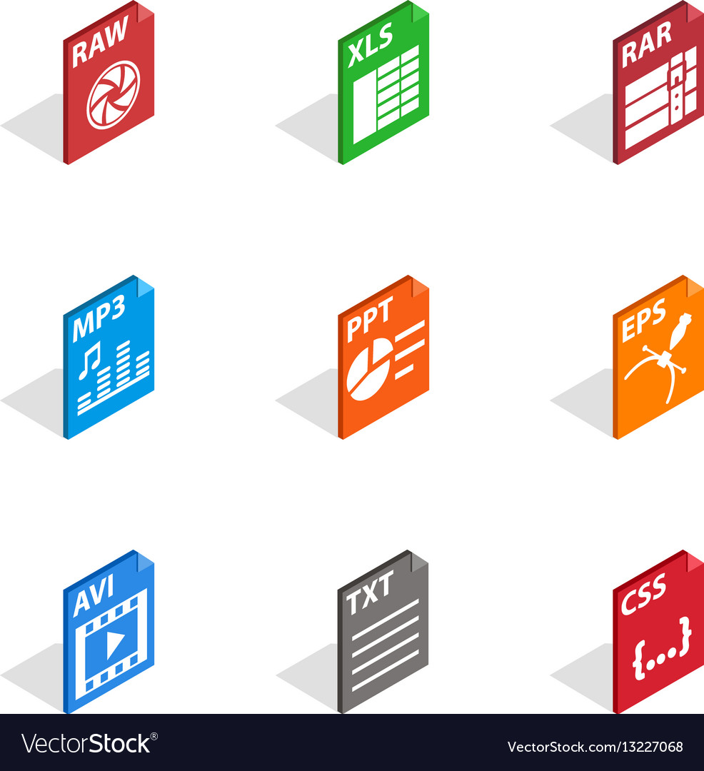 Program file icons isometric 3d style