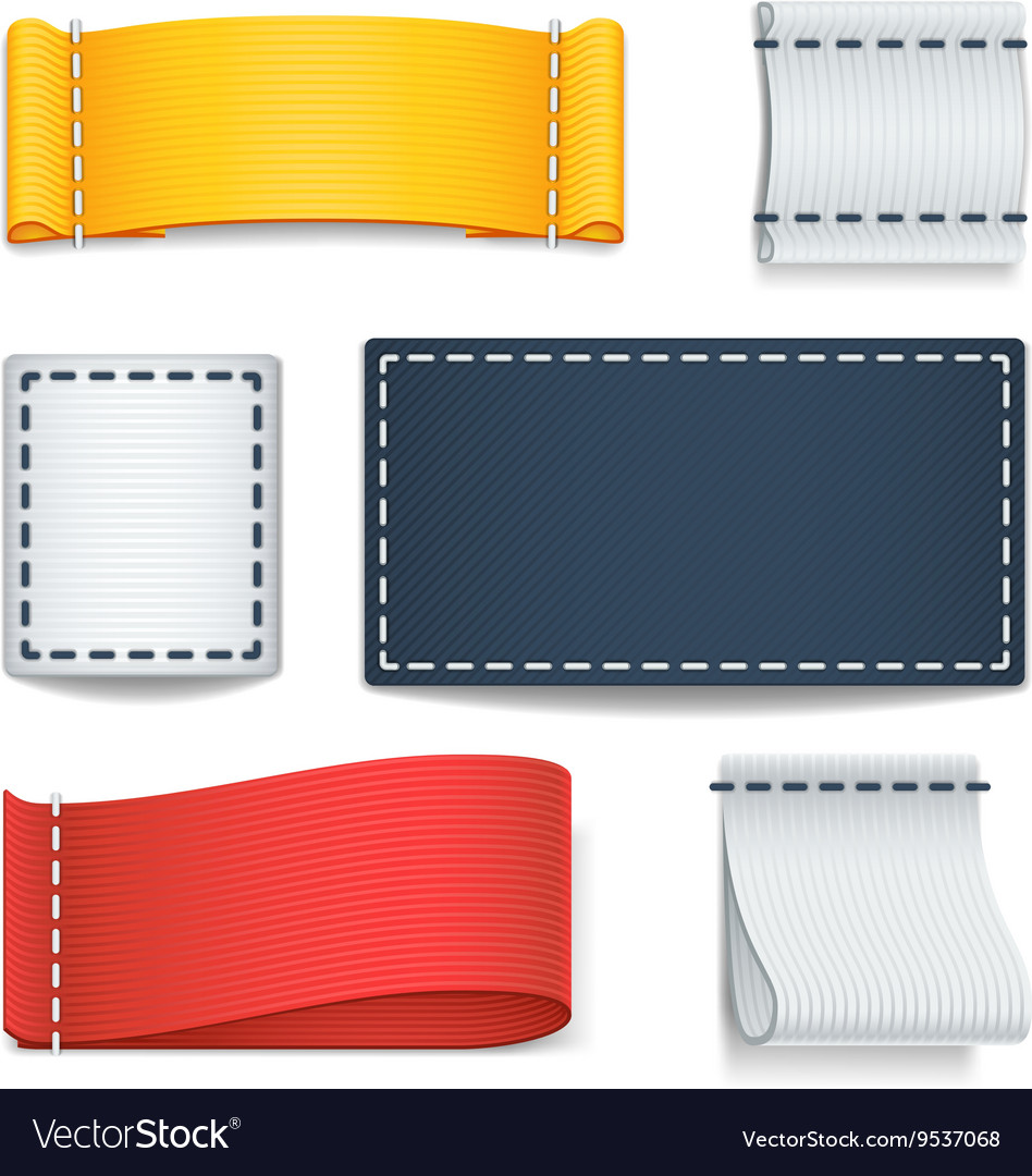 Realistic color blank fabric labels badges with vector image