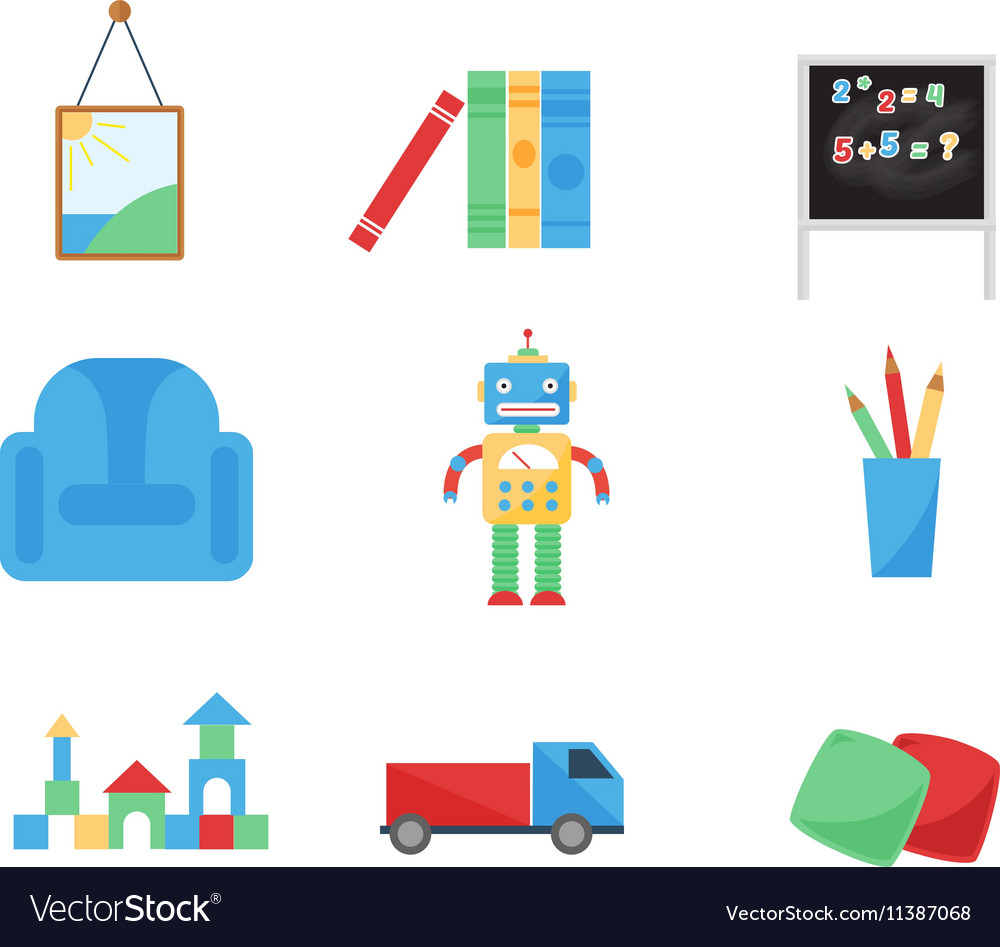 Set of different cartoon toys