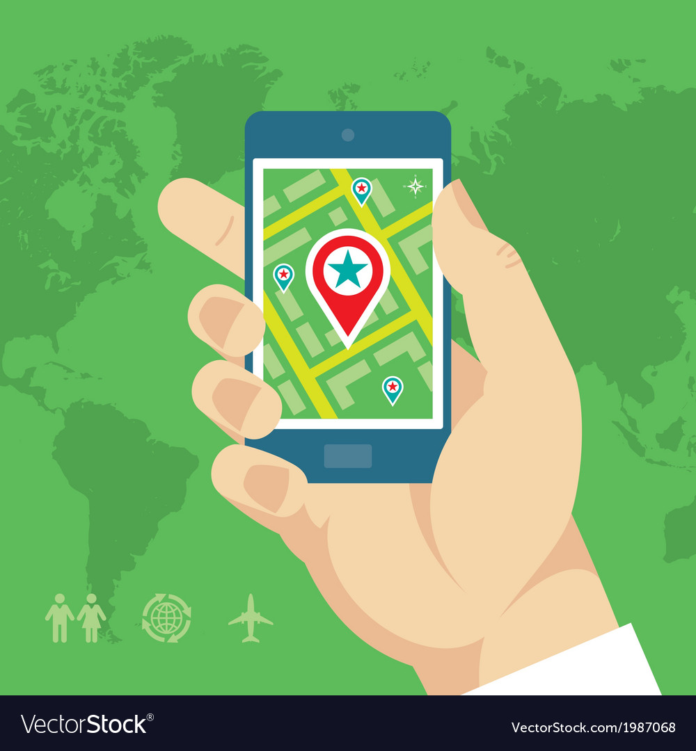 Smartphone with Map and Location in Human Hand