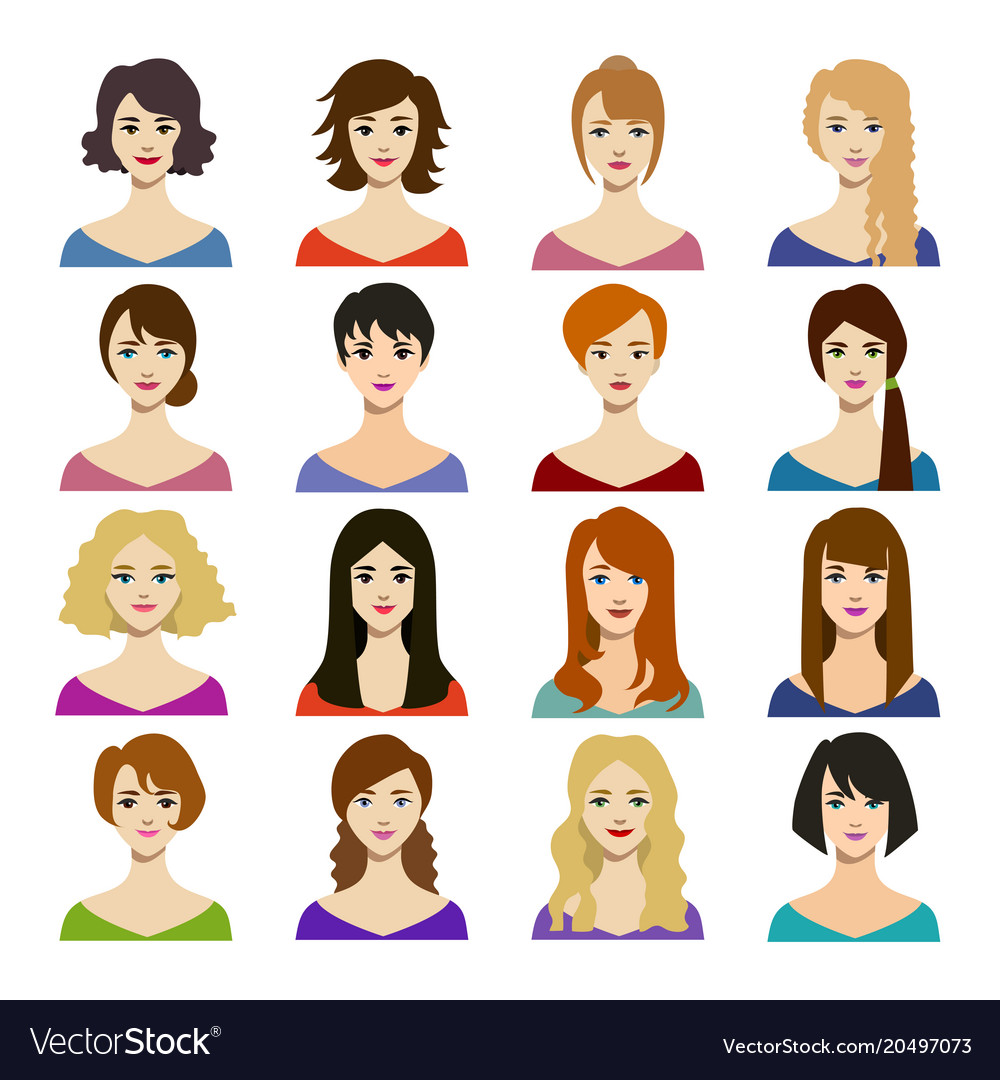 cartoon woman hairstyles icons set royalty free vector image