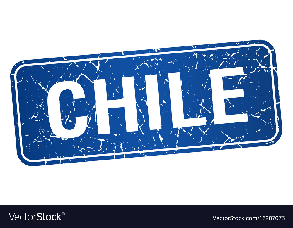 Chile Blue Stamp Isolated On White Background Vector Image