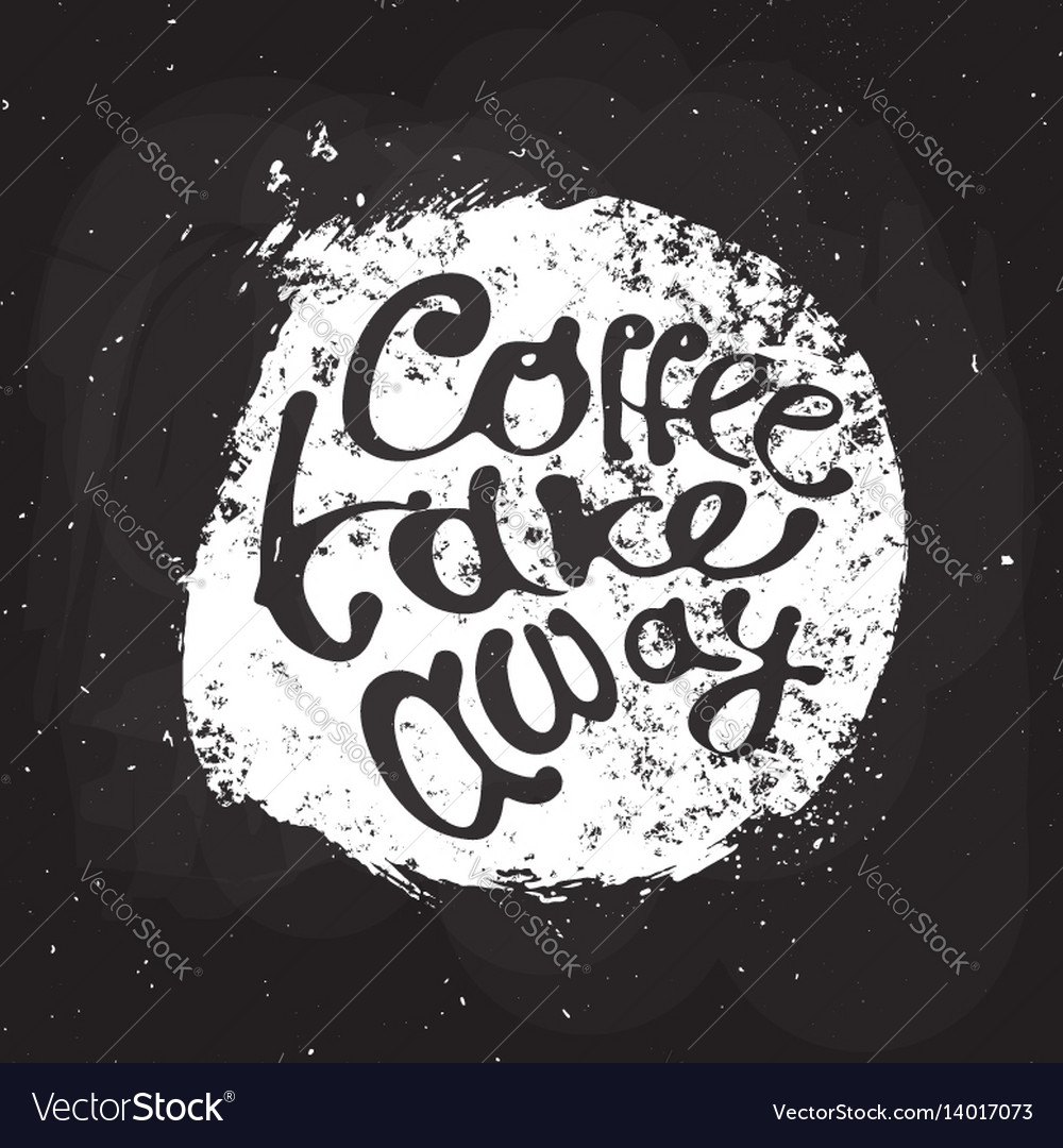 Coffee hand draw logo with lettering vector image