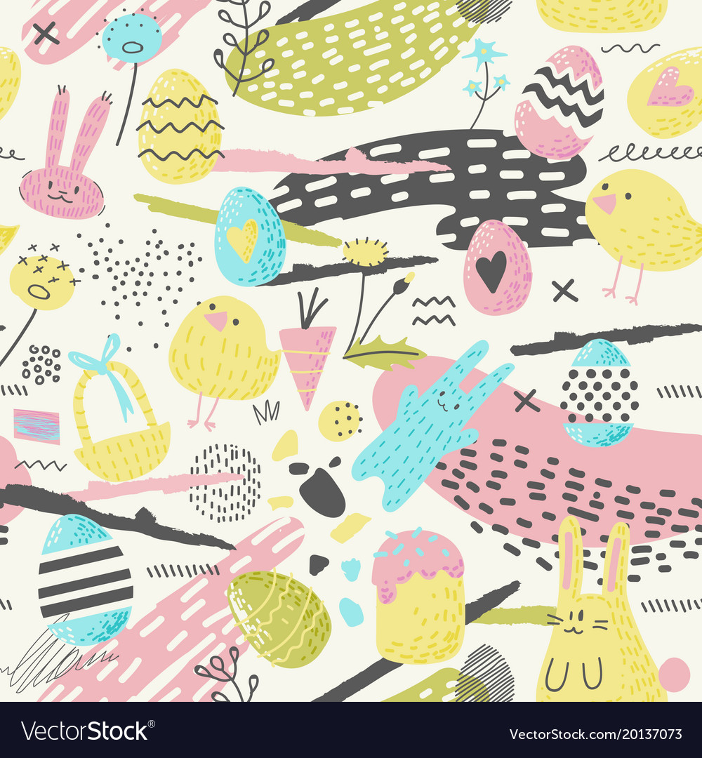 Happy easter seamless pattern with eggs bunny