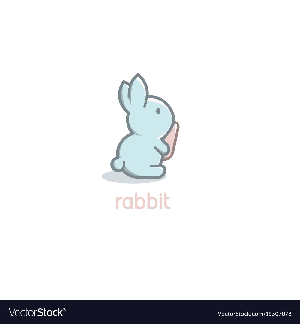 Isolated cartoon cute blue rabbit baby with orange