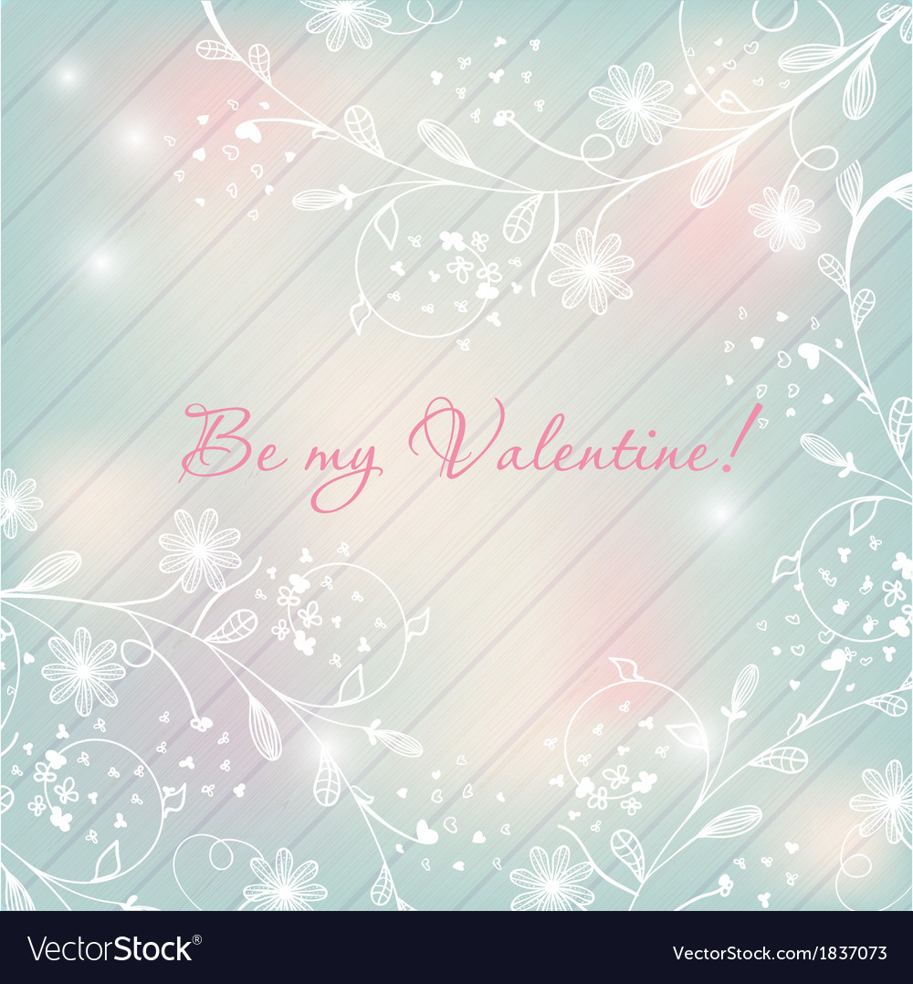 Light pastel floral background Valentines design vector image