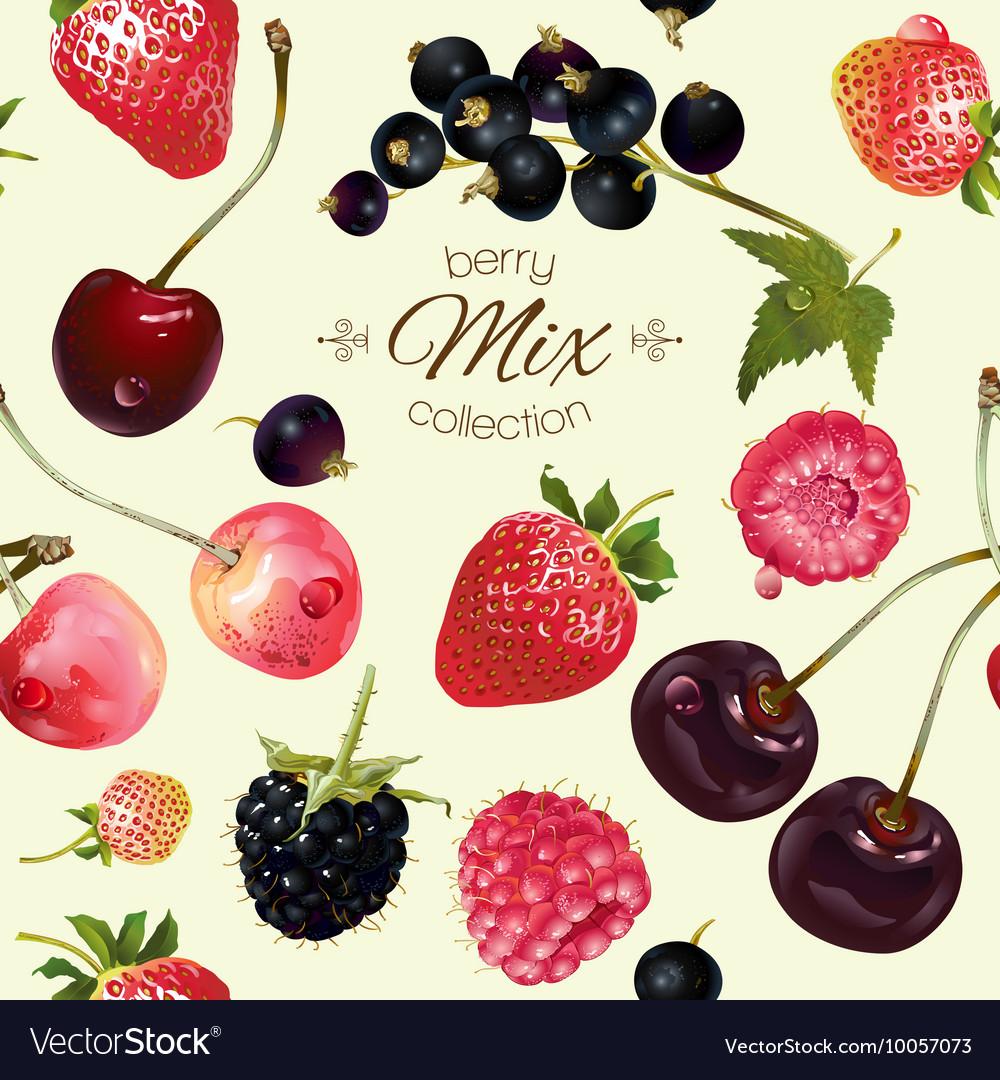 Mix berries seamless pattern
