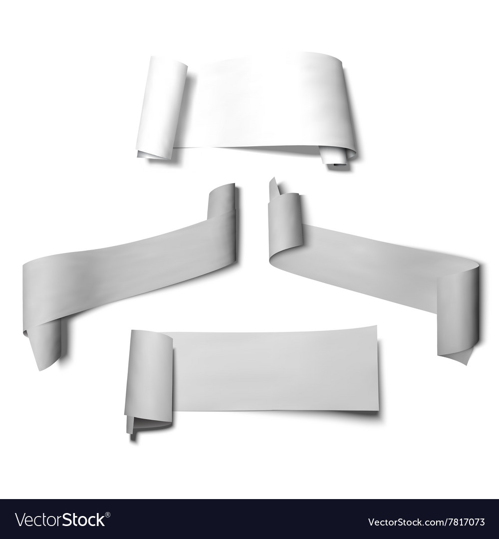 Set of paper banners ribbons with shadow vector image