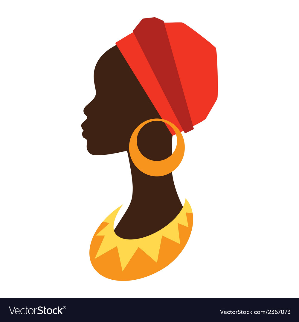 Silhouette of african girl in profile with