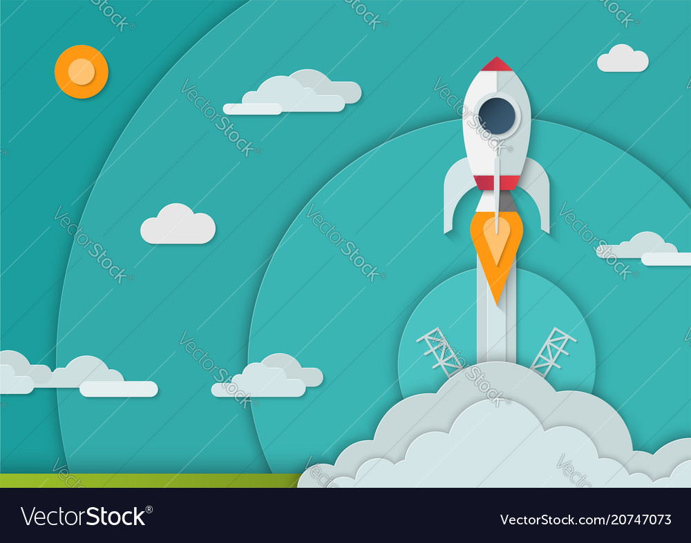 Space rocket launch in paper art style a4 size