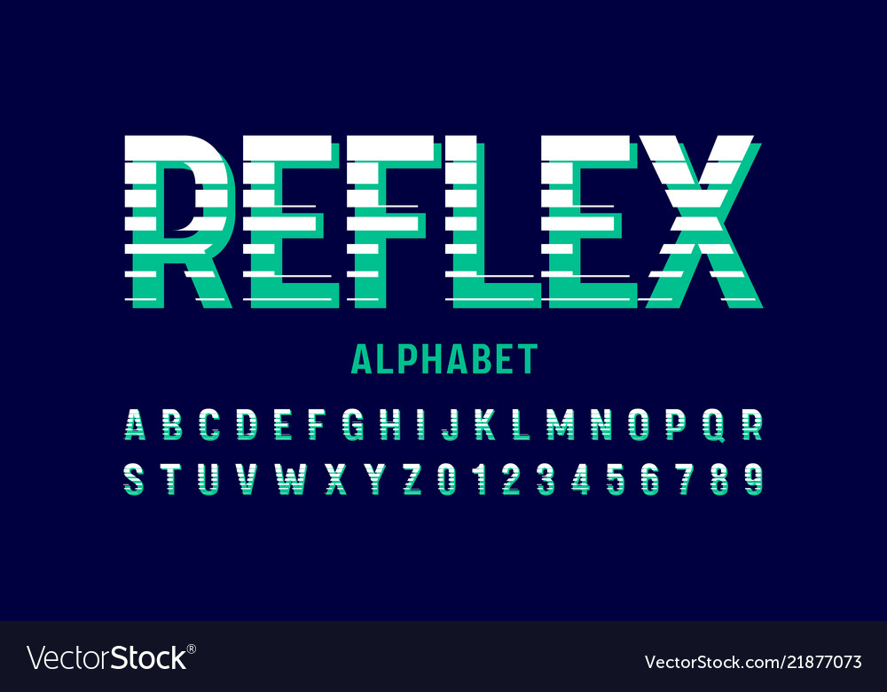 Stylized font design alphabet letters and numbers