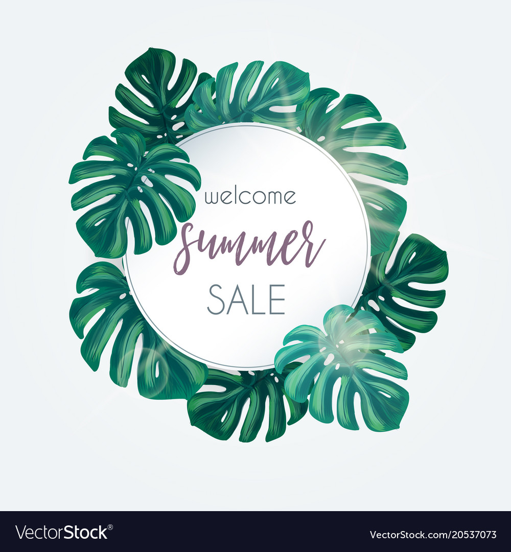 Summer sale tropical background