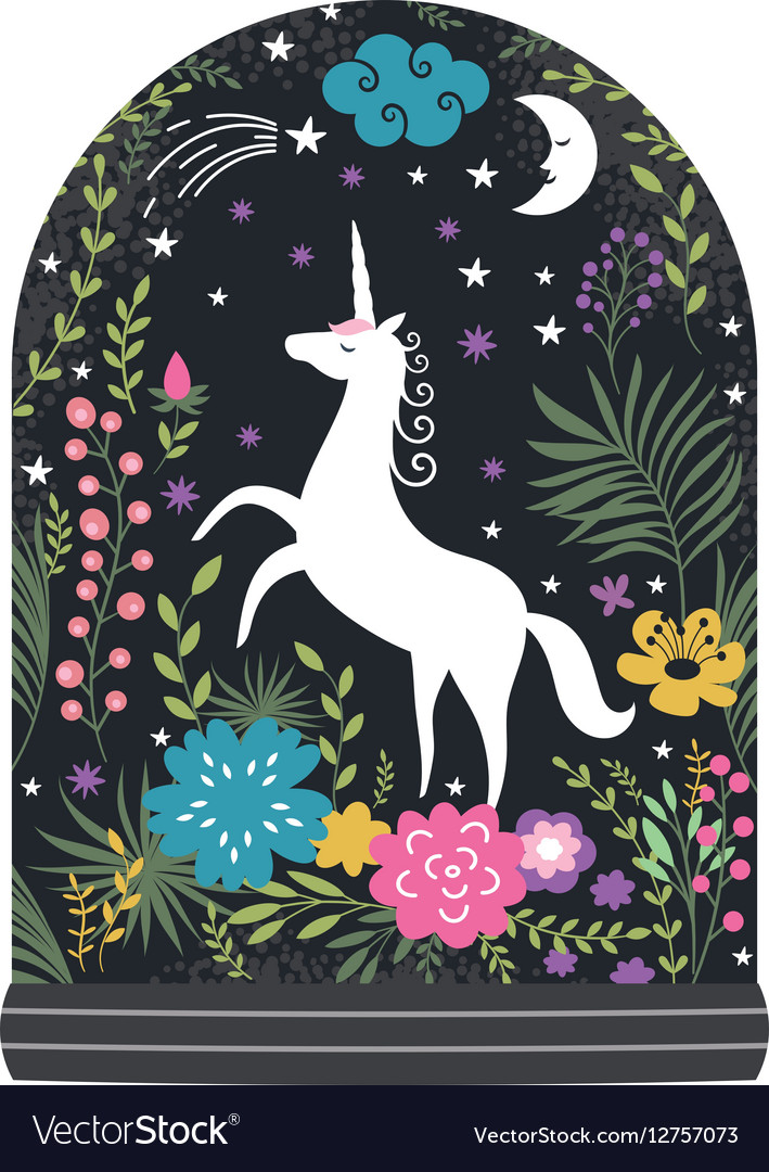 Unicorn with flowers fantasy