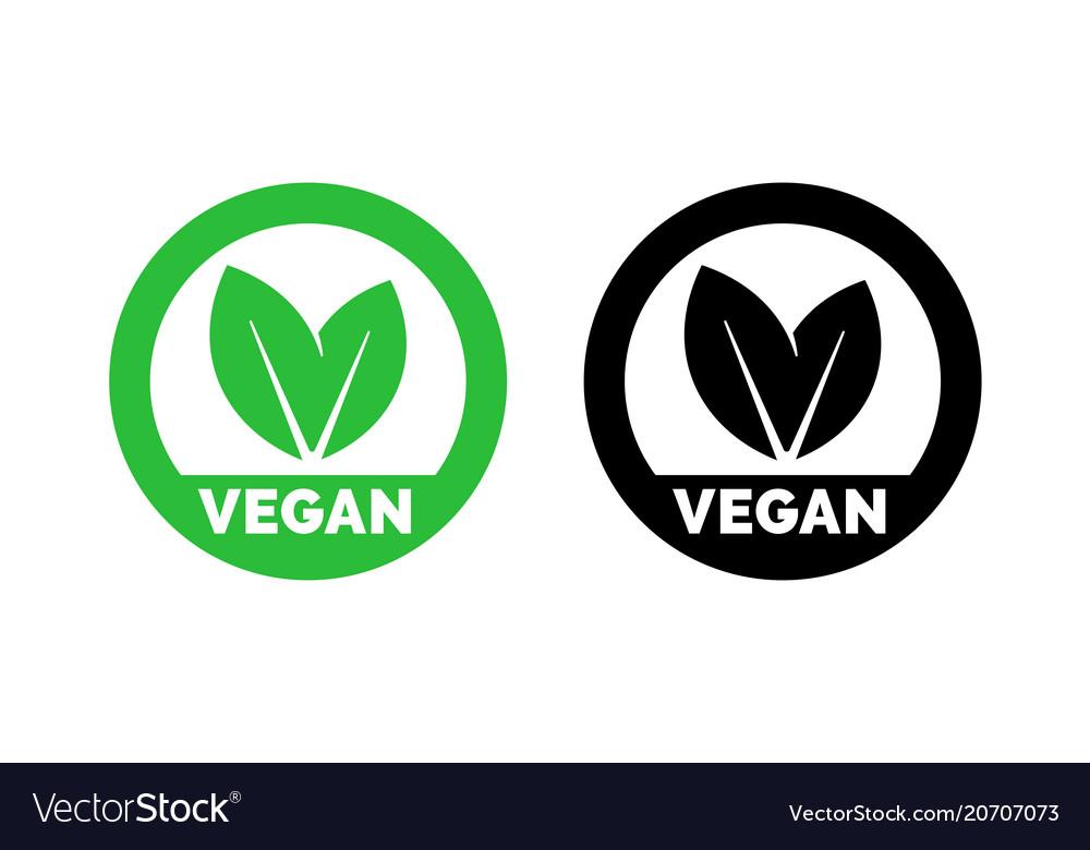 Vegan label vegetarian food green leaf icon
