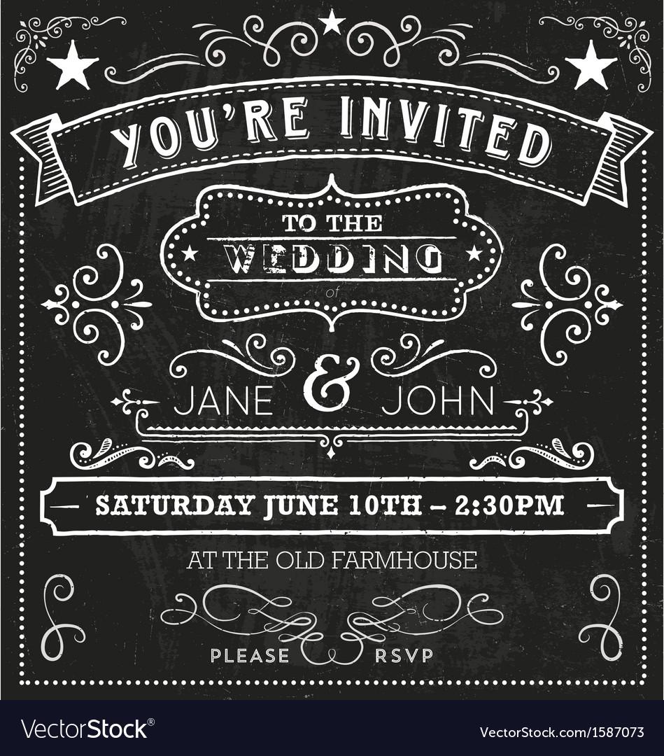 Wedding Chalkboard Invitation Elements vector image