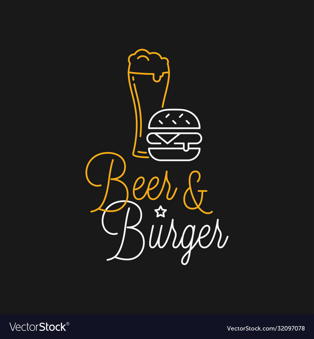 Beer And Burger Linear Logo Beer Glass Lettering Vector Image