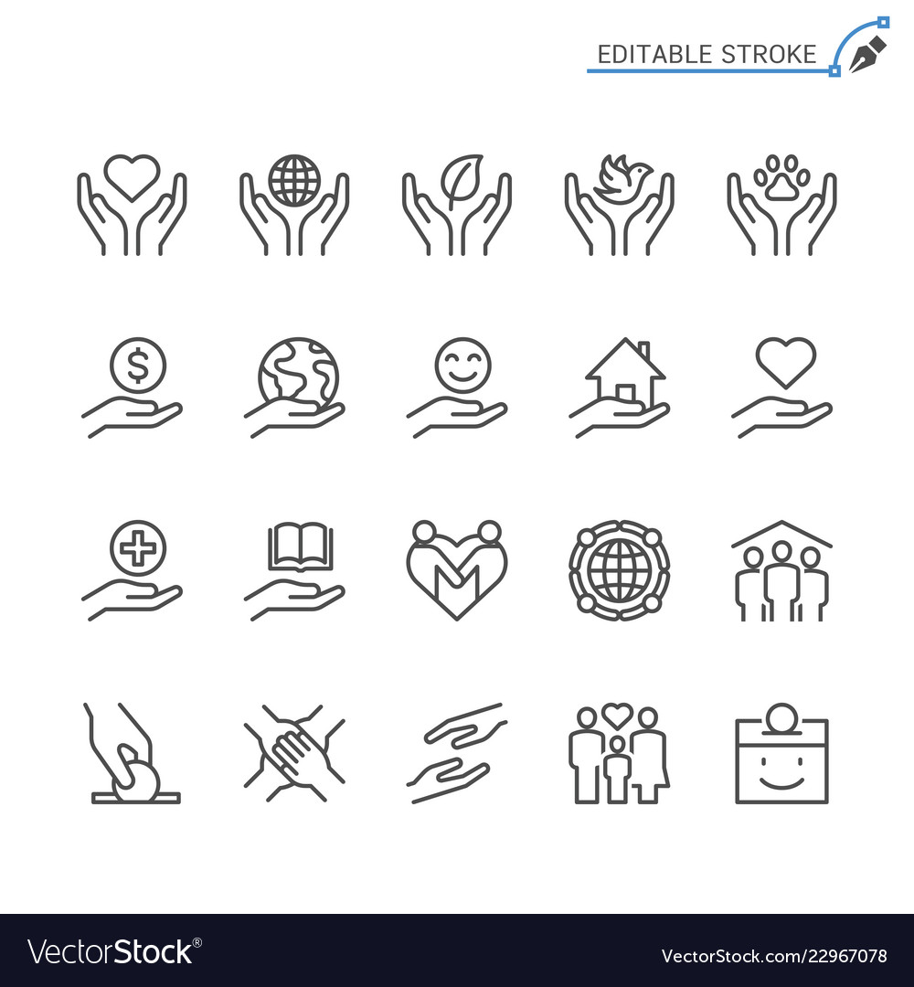 Charity and donation line icons editable stroke