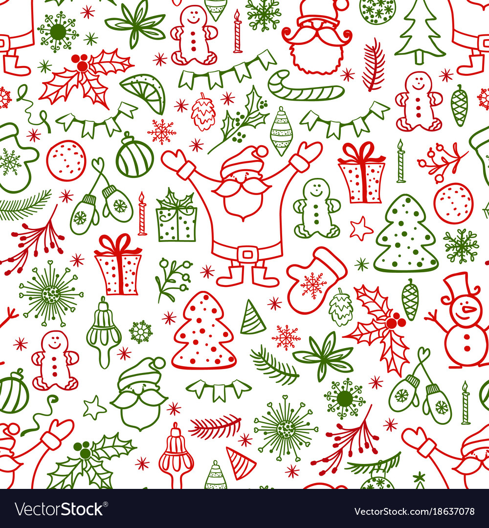 Christmas design element in doodle style pattern