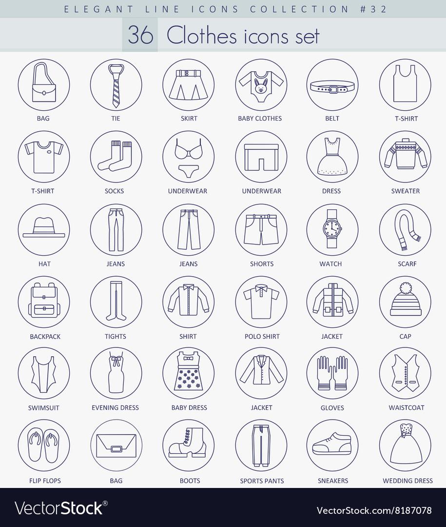 Clothes outline icon set Elegant thin line