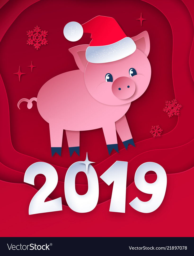 Cut paper postcard of new year pig