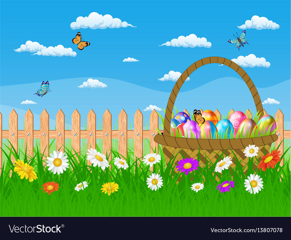 Easter card with easter eggs on a grass field