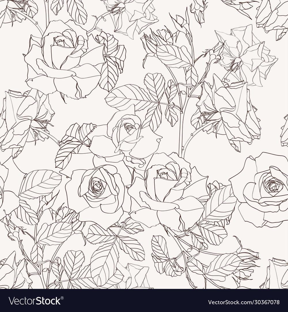 Elegant seamless pattern with roses flowers