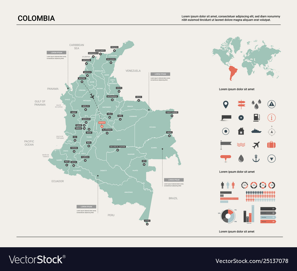 Map colombia high detailed country map with