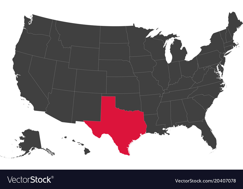 Map Of Usa Texas Royalty Free Vector Image Vectorstock