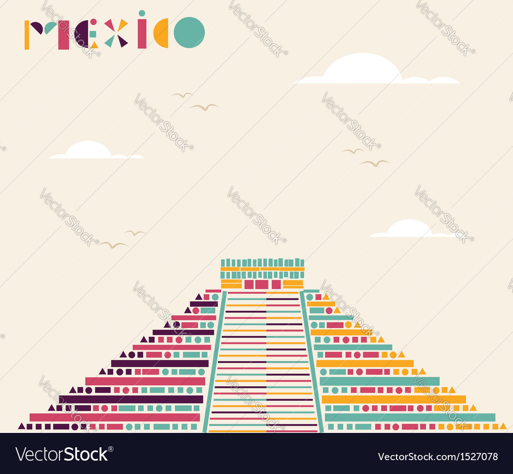 Mexico pyramid travel background