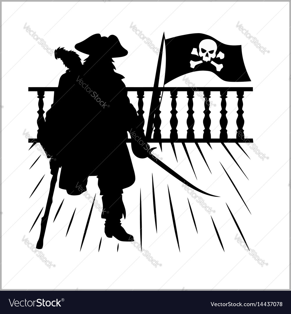 Pirate and jolly roger - silhouette