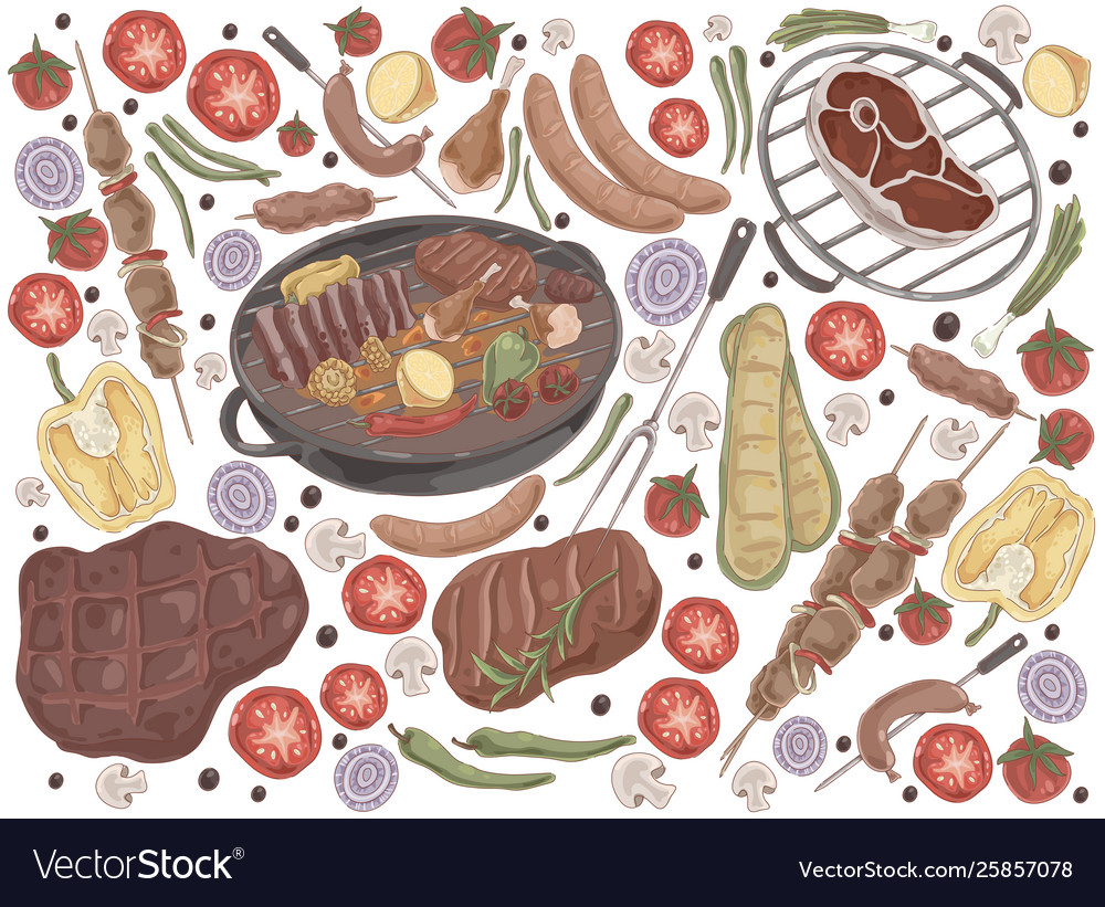 Roasted meat with vegetables grilled steak
