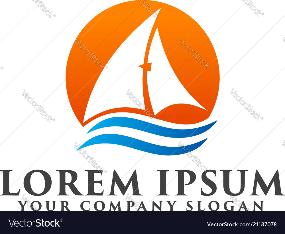 Sail boat summer logo design concept template