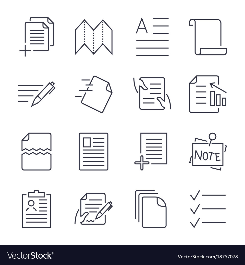 Simple set of document icons contains such icons