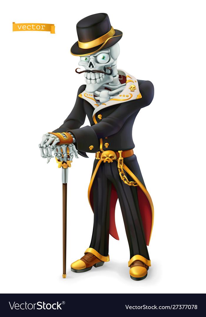 Skeleton in retro costume halloween day the