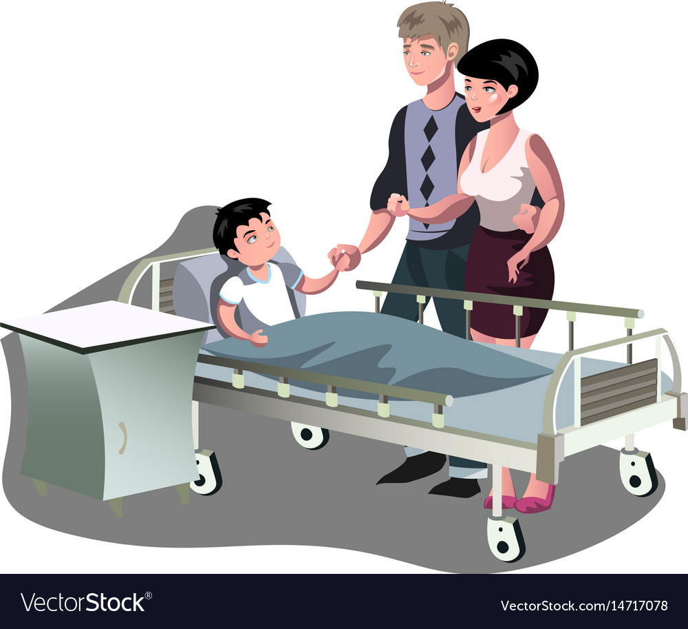 The boy is lying in bed in the hospital
