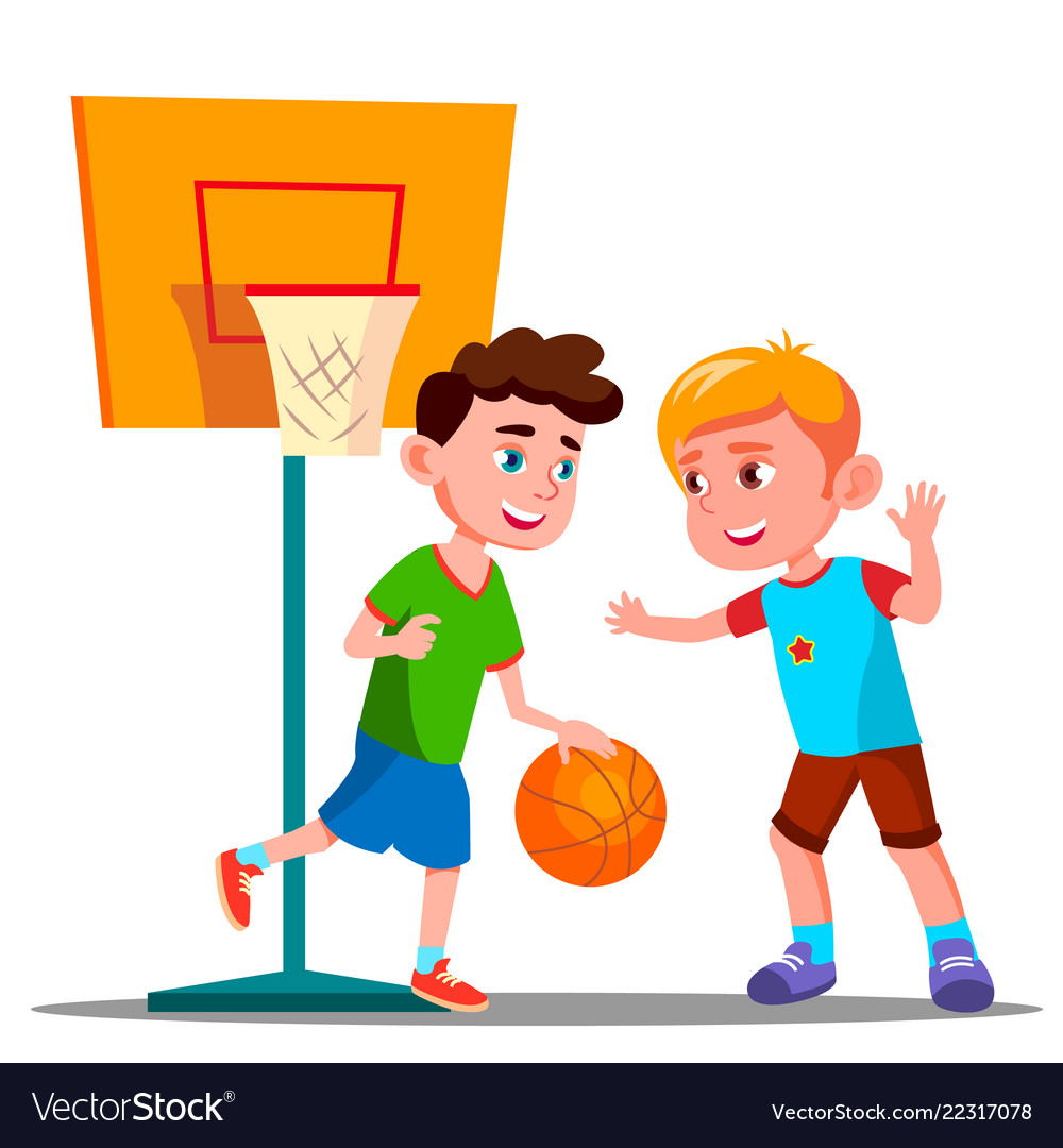 Two boys playing basketball on the playground