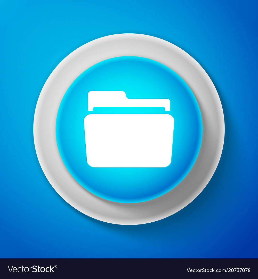 White folder icon isolated on blue background