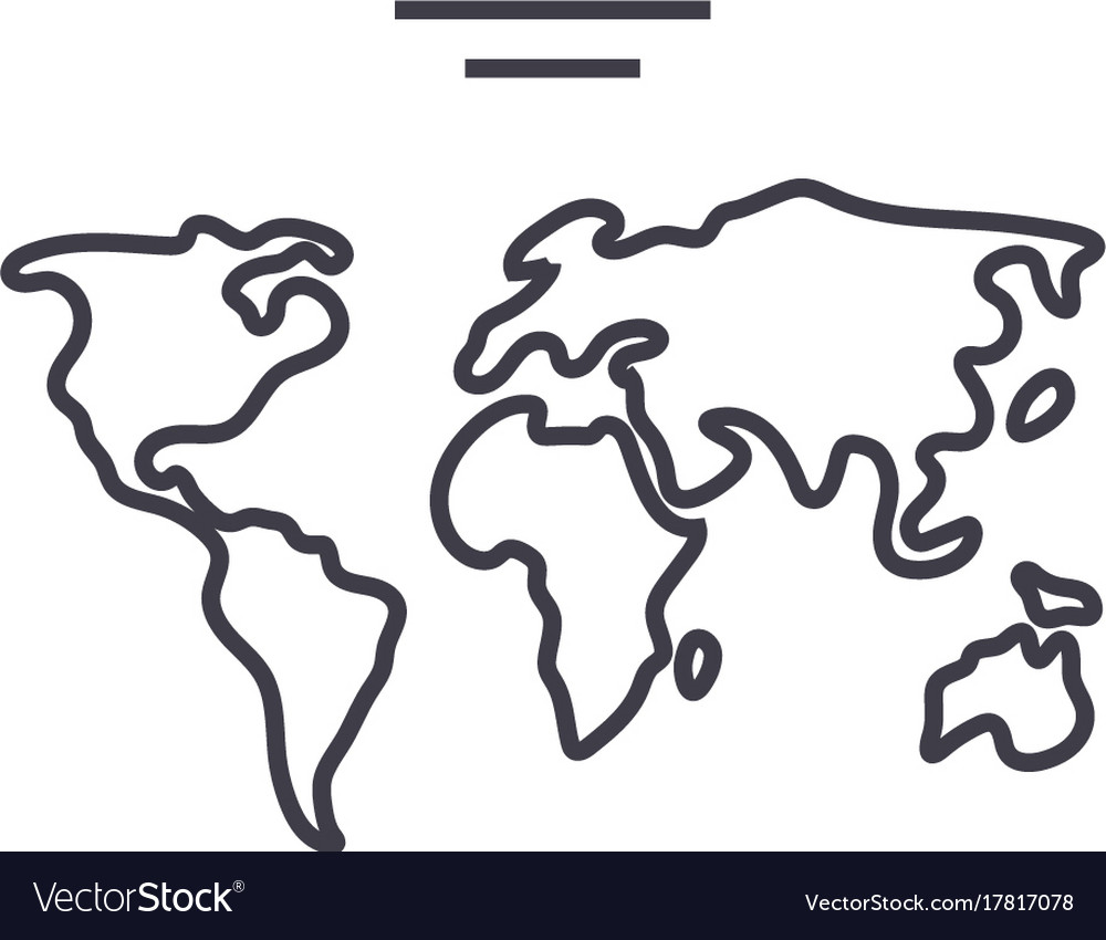 World map line icon sign o