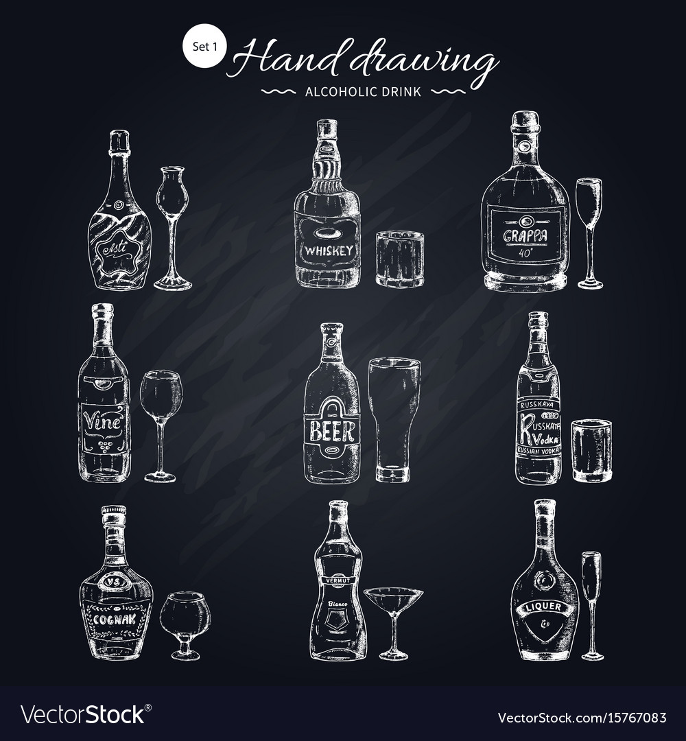 Alcoholic beverages monochrome icons set