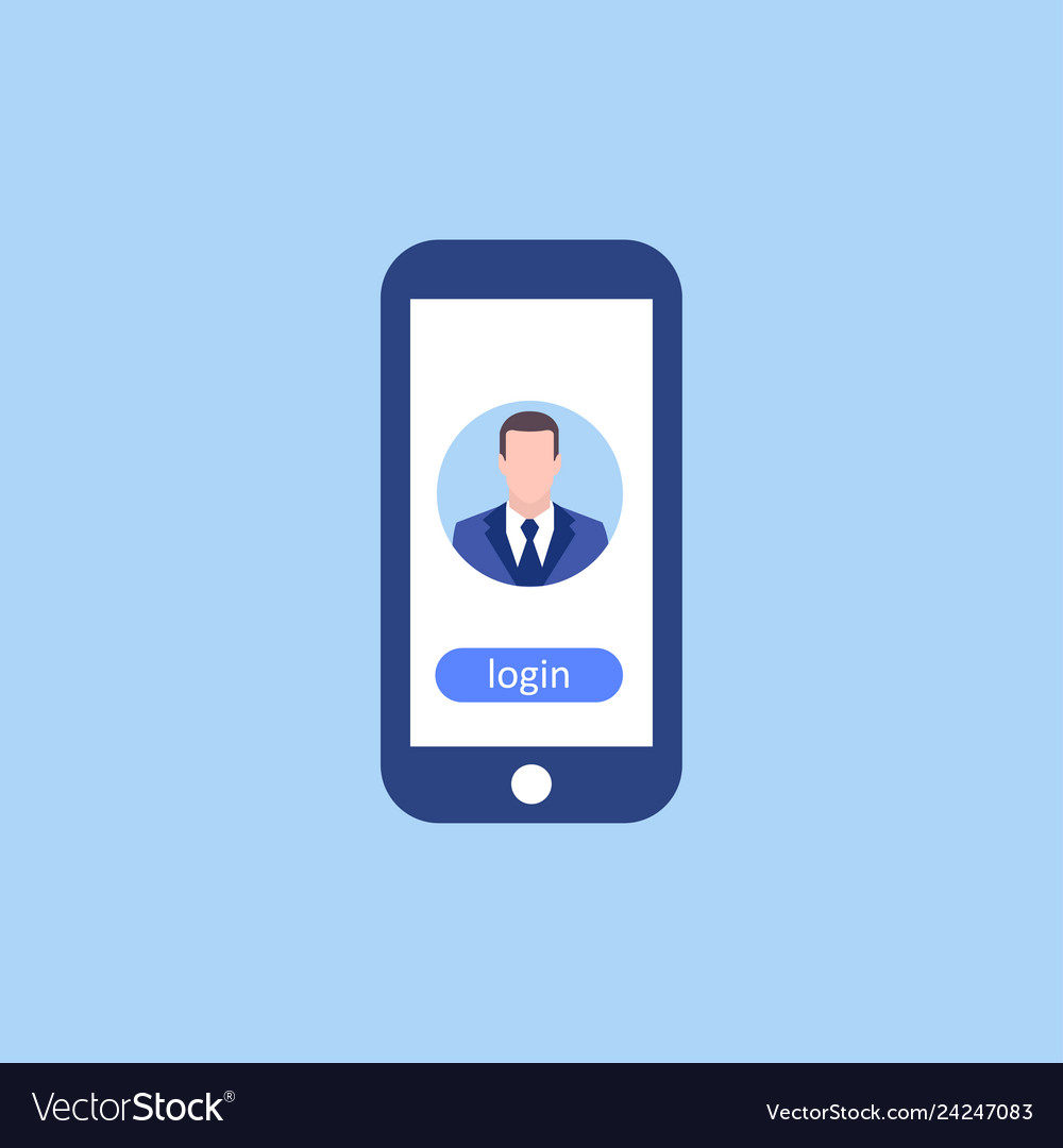 Avatar man in phone login business concept in